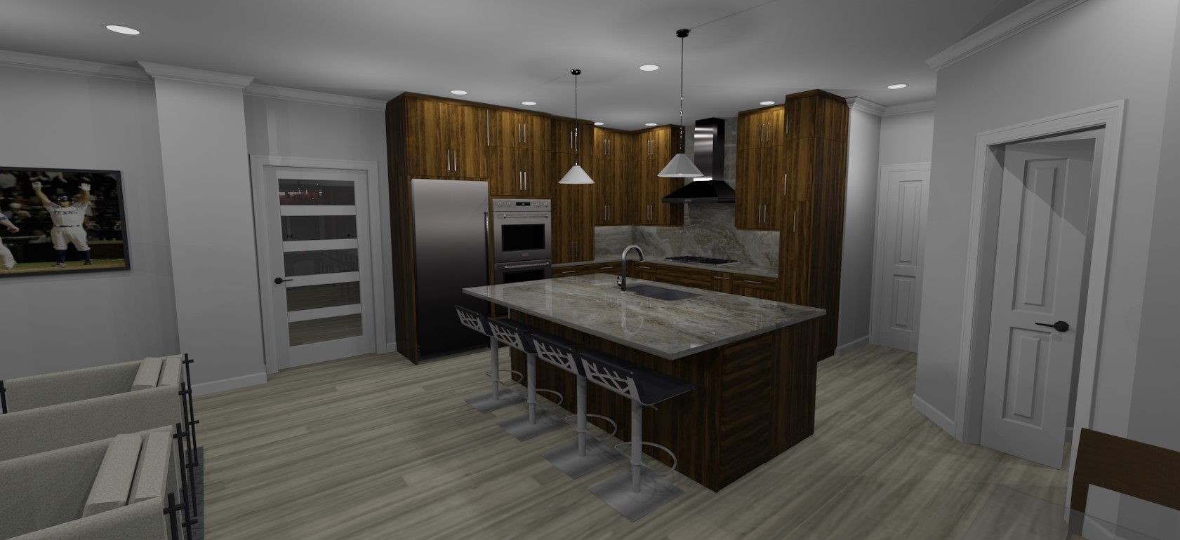 3D rendering of full kitchen remodel in north texas