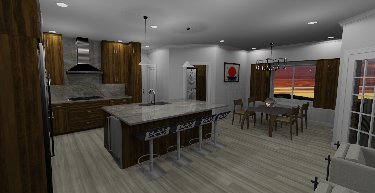 3D rendering of kitchen remodel in north richland hills texas