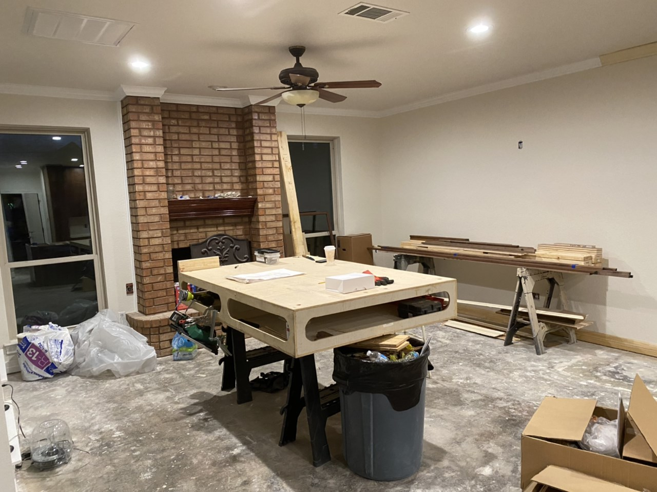 Custom kitchen island installation