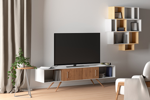 interior design media wall with three-dimensional décor around television