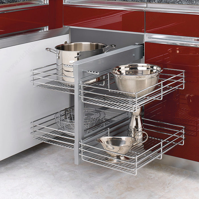 richelieu easy insert storage system for kitchen cabinet corners