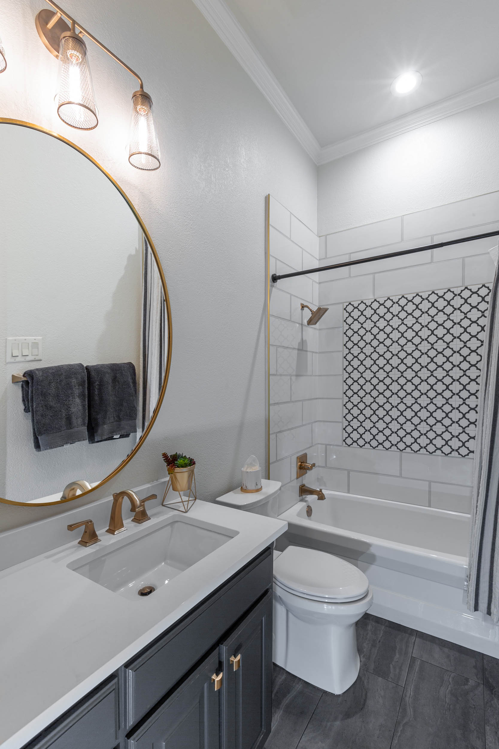 Black and white guest bathroom remodel