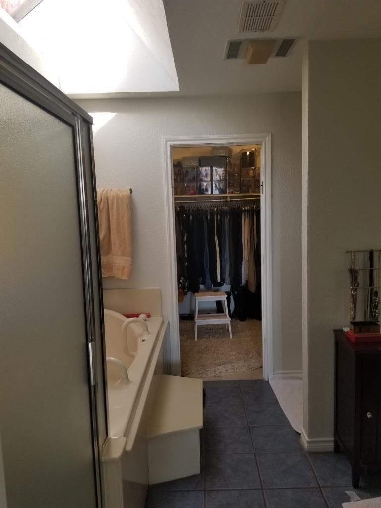 before picture of bathroom remodel with small closet