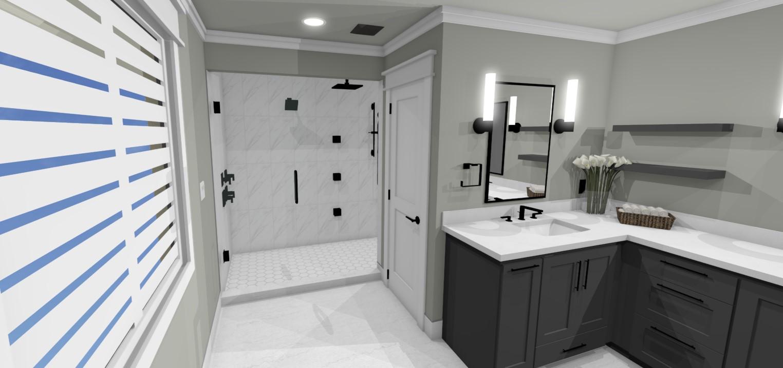 design rendering of full bathroom remodel showing custom cabinetry