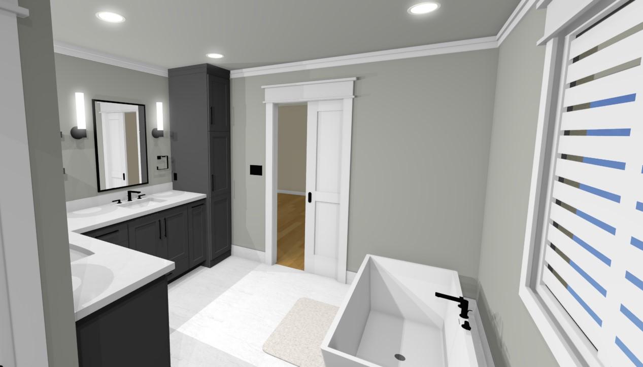design rendering of full bathroom remodel showing layout