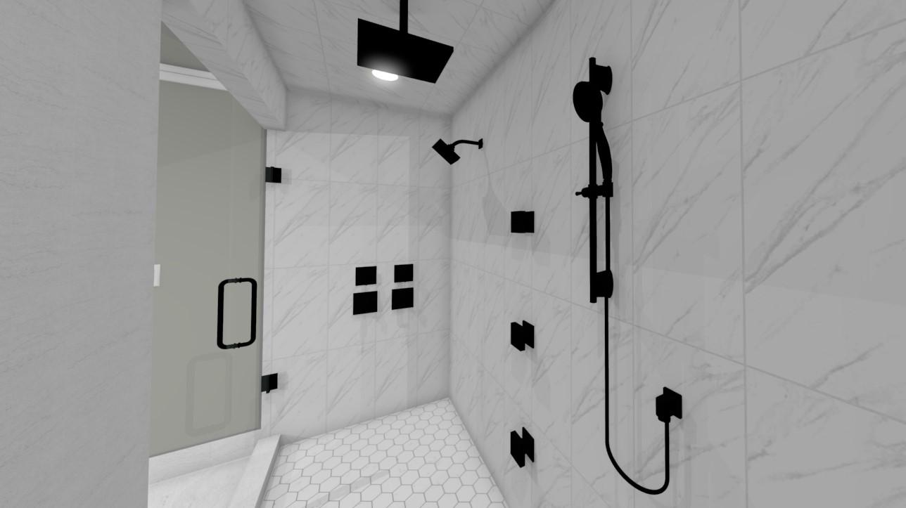 design rendering of full bathroom remodel showing shower
