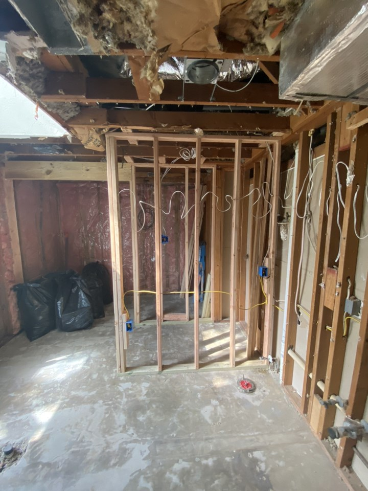 during picture of bathroom full remodel demolition