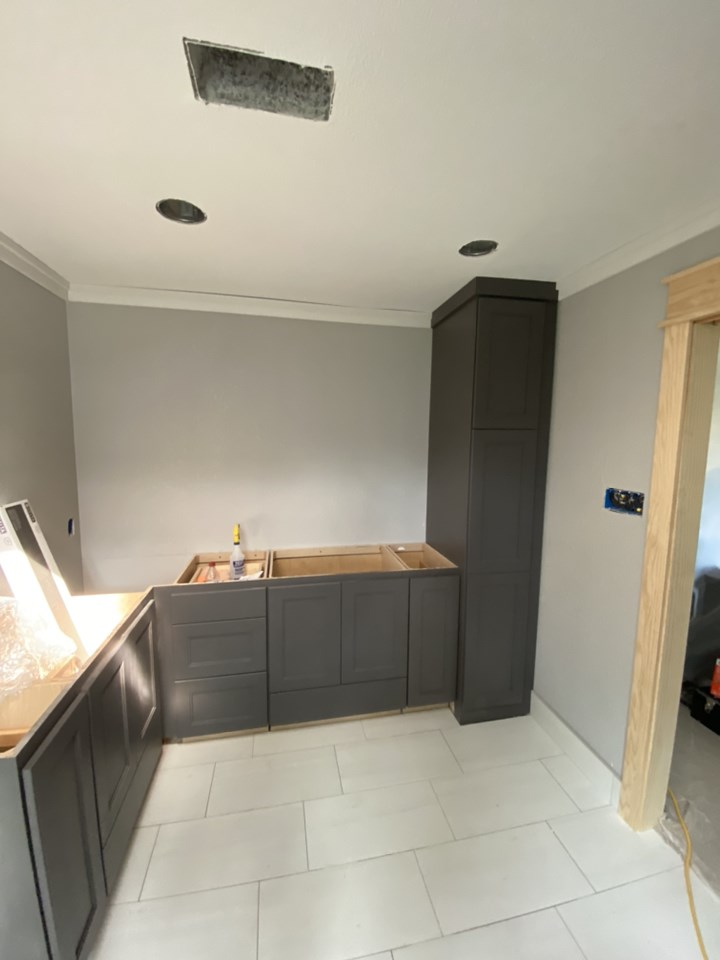 during picture of bathroom full remodel of custom cabinetry install