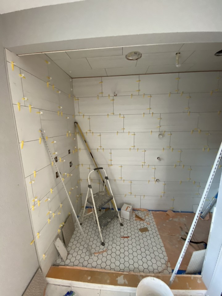 during picture of bathroom full remodel of tile install