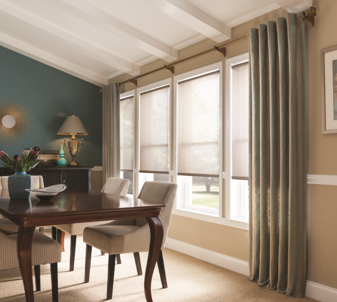 Graber window covering combination in dining room
