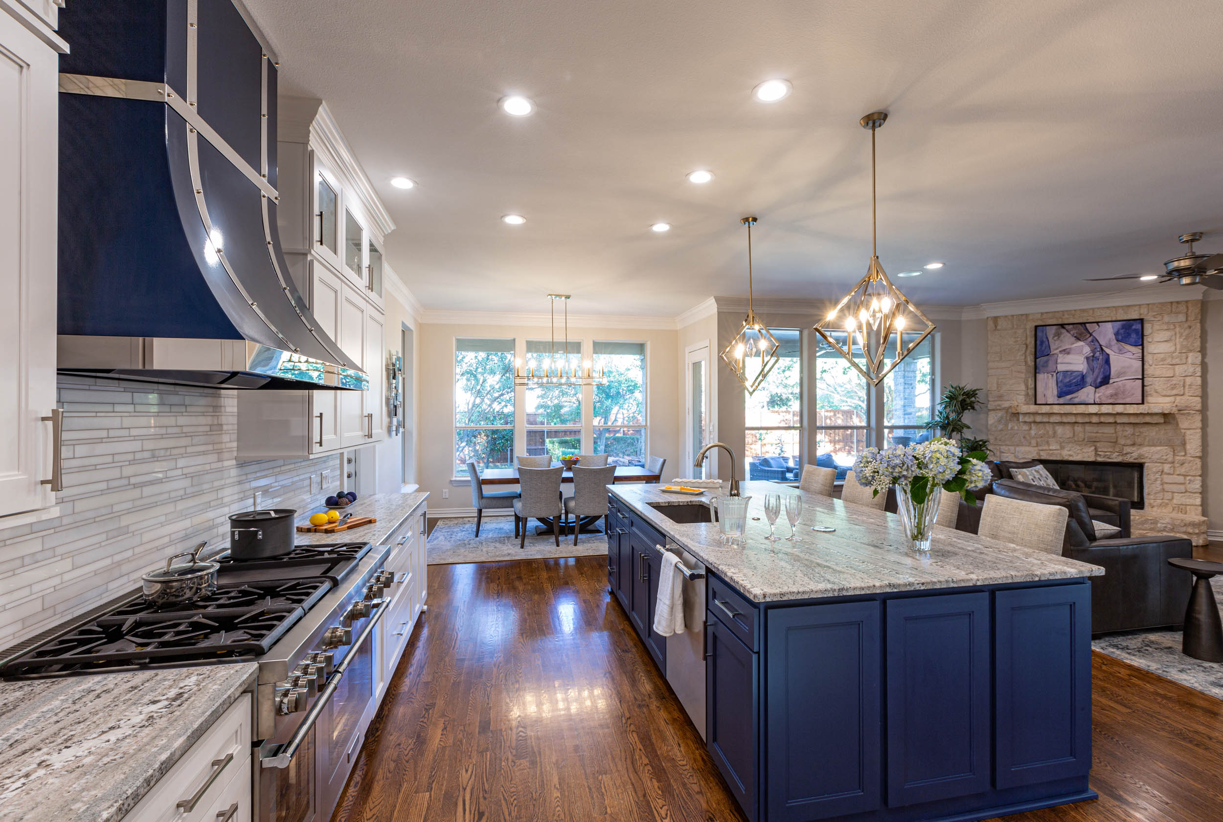 Kitchen remodel in Keller, Texas with open style and large kitchen island