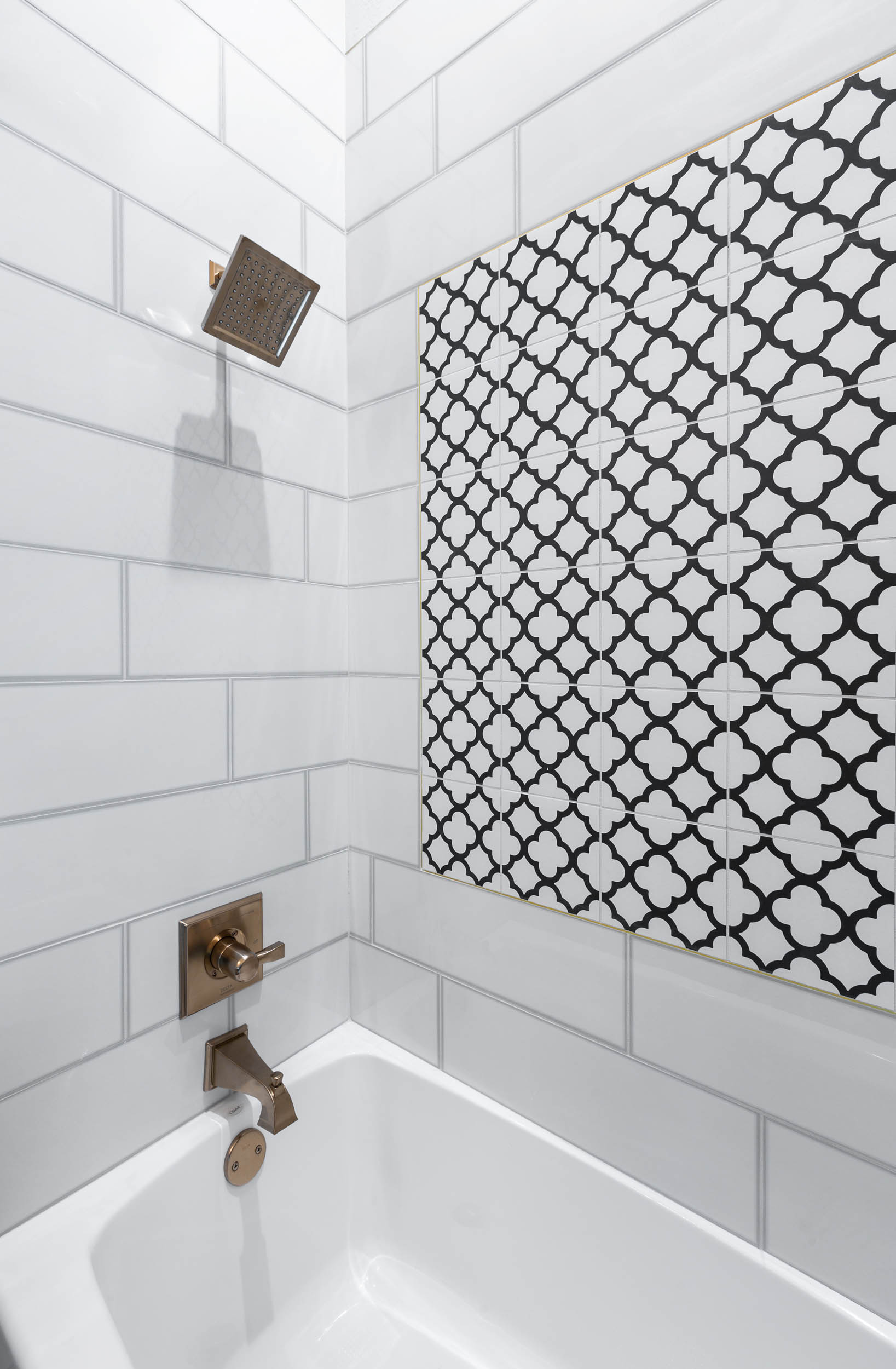 Black and white tile for bathroom shower and tub
