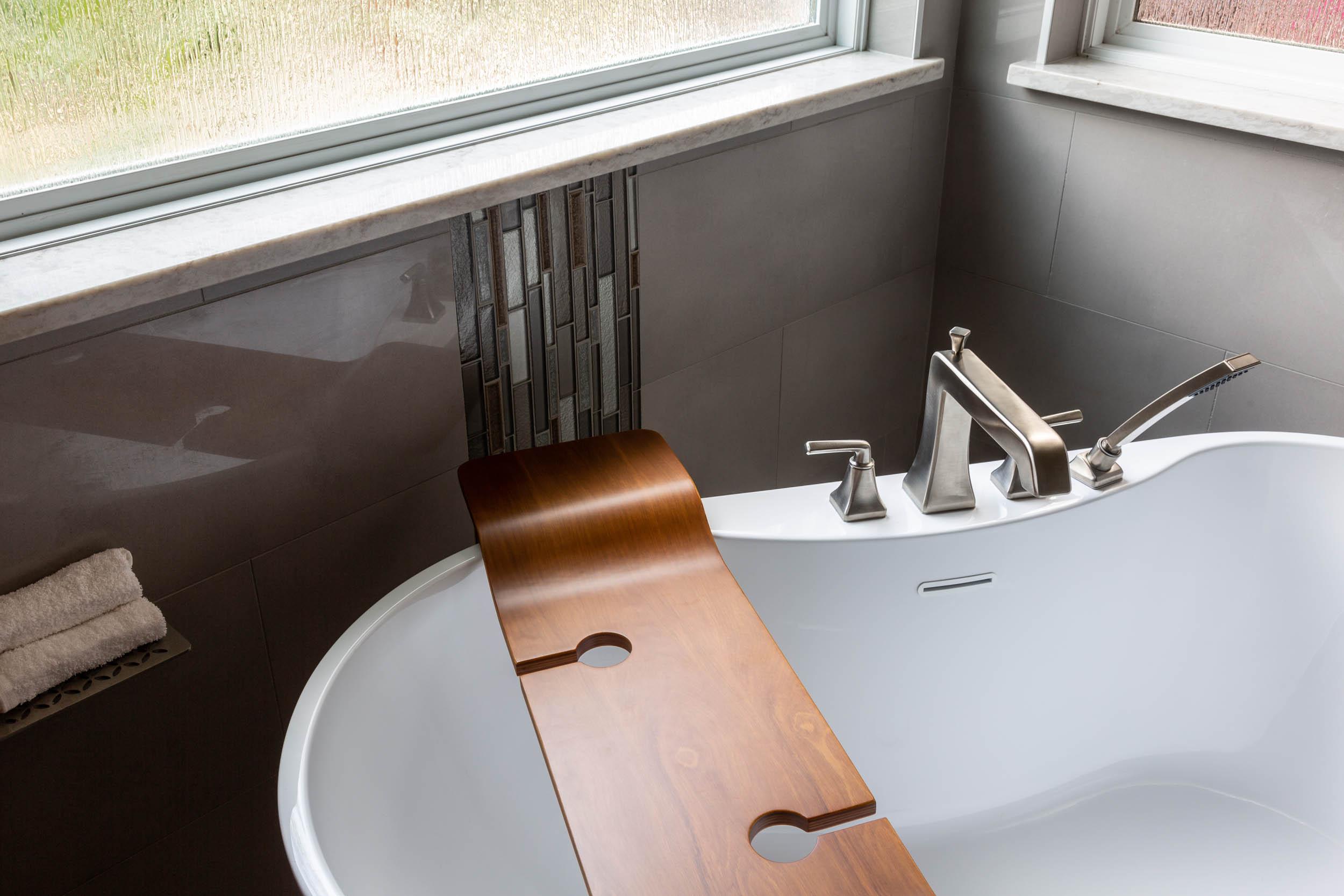 Luxurious bathtub in bathroom remodel