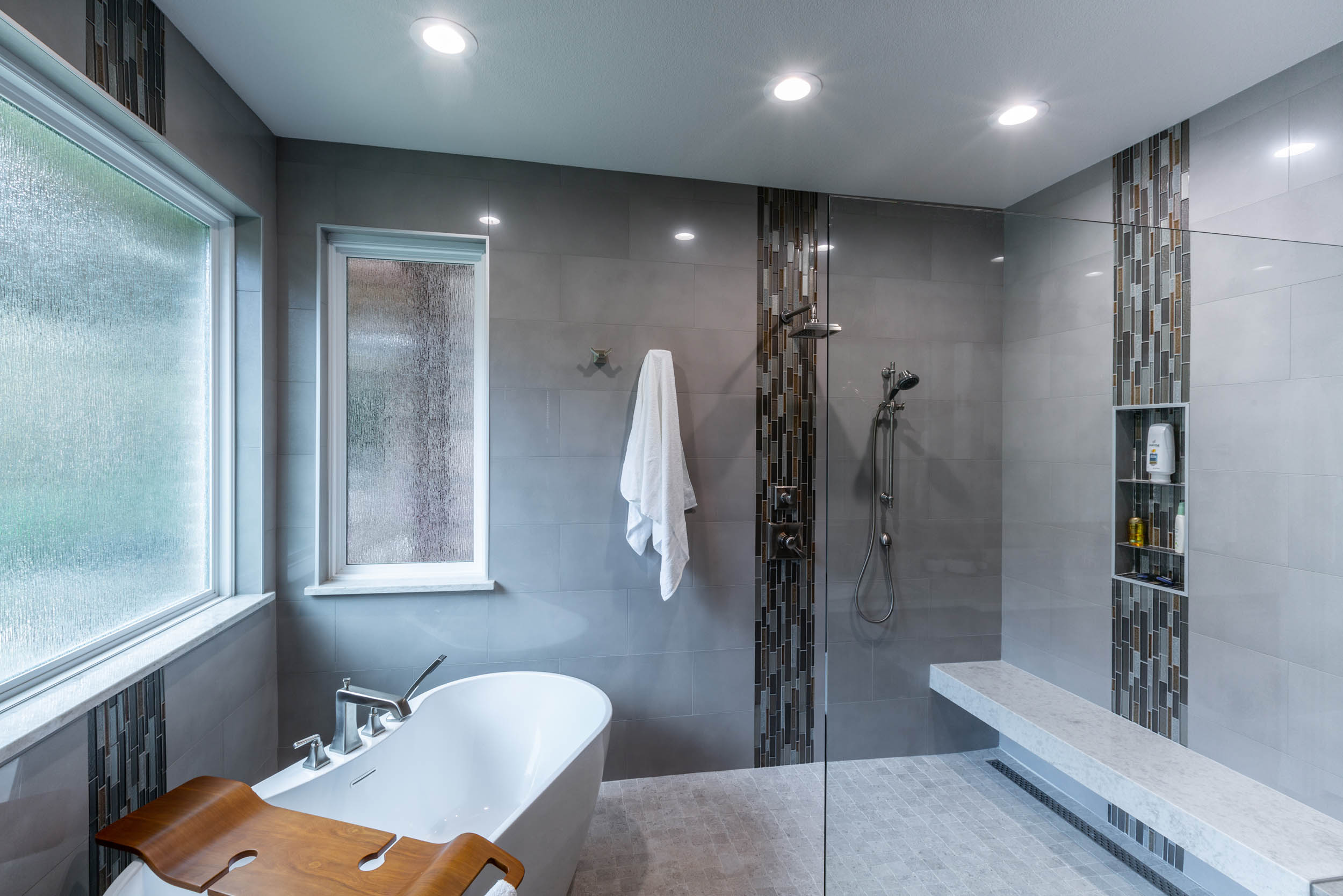 Flower mound bathroom remodel with seamless shower and bath space