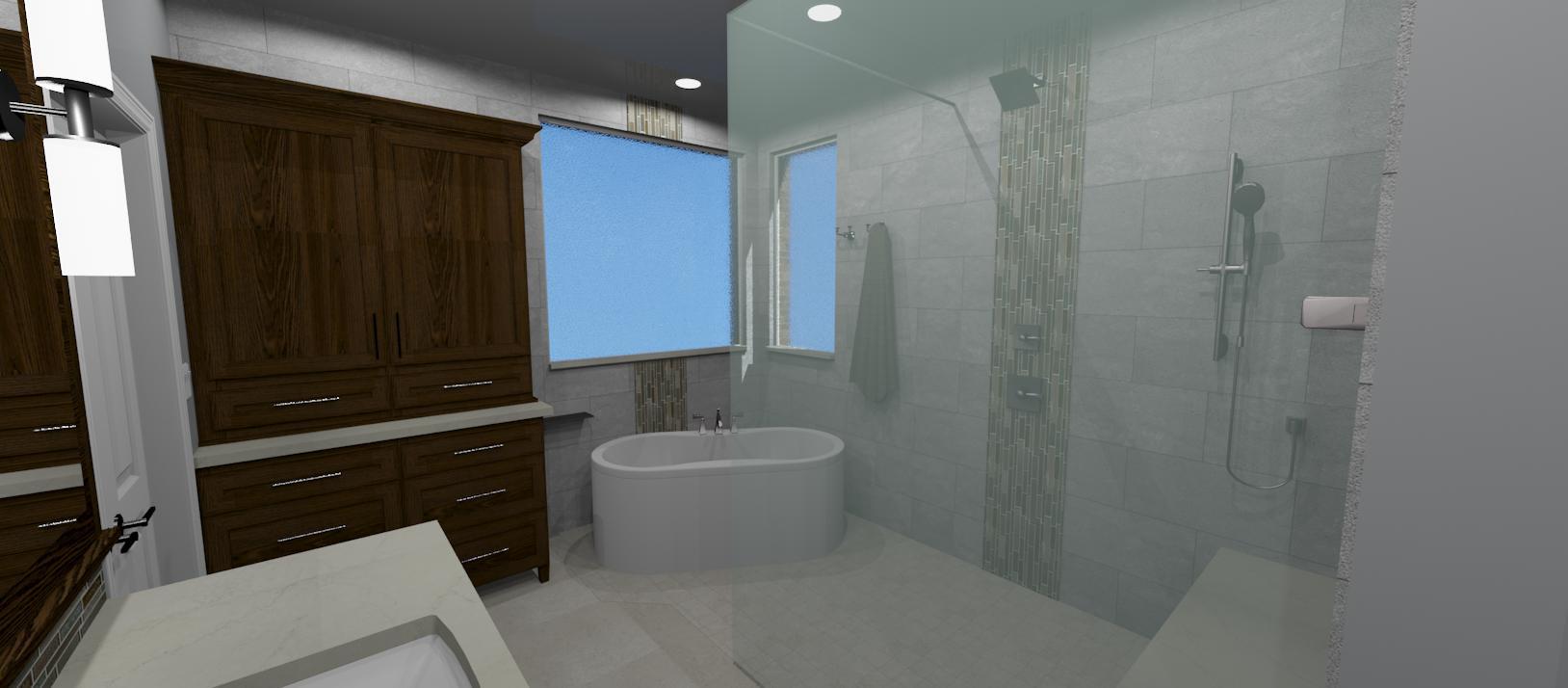 3D bathroom remodel design rendering