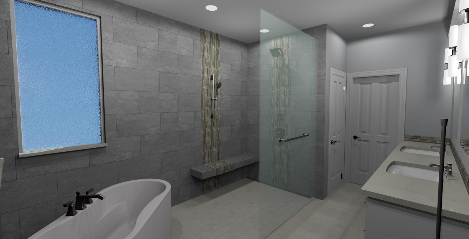 3D full bath remodel design rendering