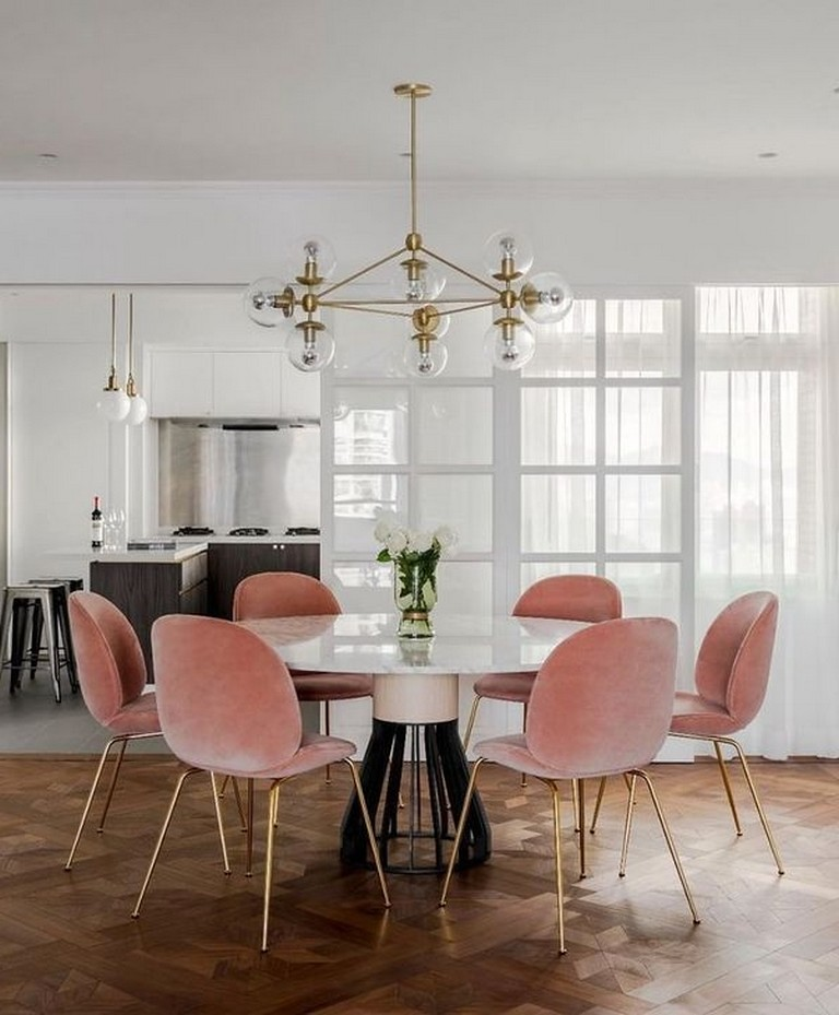 Performance fabric velvet on dining room chairs